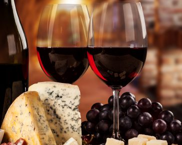 Selected wine and local cheese