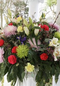 Freshly arranged flowers in the Penventon Park Hotel, Cornwall
